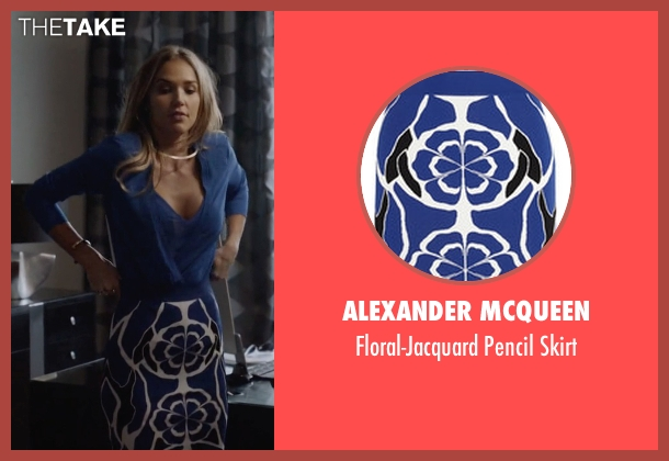 Alexander McQueen blue skirt from Ballers seen with Tracy Legette (Arielle Kebbel)