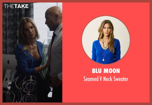 Blu Moon blue sweater from Ballers seen with Tracy Legette (Arielle Kebbel)