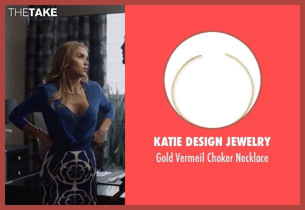 Katie Design Jewelry gold necklace from Ballers seen with Tracy Legette (Arielle Kebbel)