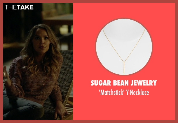 Sugar Bean Jewelry gold y-necklace from Ballers seen with Tracy Legette (Arielle Kebbel)