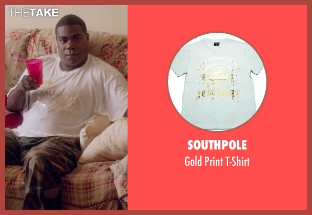 Southpole white t-shirt from Top Five seen with Tracy Morgan (Fred)