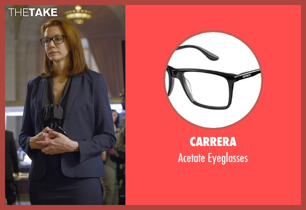 Carrera black eyeglasses from Quantico seen with Tracy Preston (Andrea Frankle)