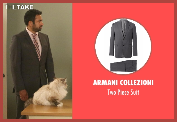 Armani Collezioni gray suit from New Girl seen with Tripp (Kal Penn)