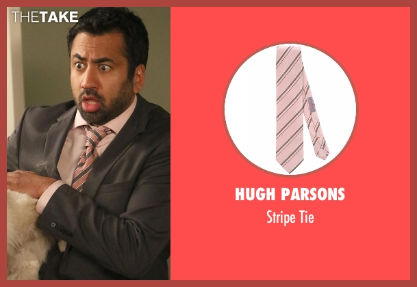 Hugh Parsons pink tie from New Girl seen with Tripp (Kal Penn)