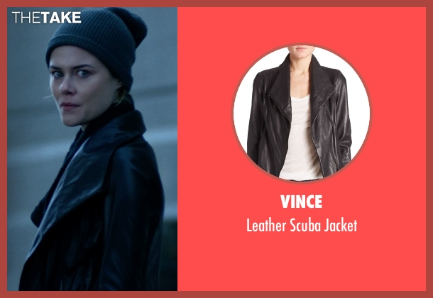 Vince black jacket from Jessica Jones seen with Trish Walker (Rachael Taylor)