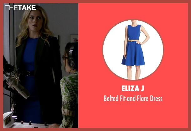 Eliza J blue dress from Jessica Jones seen with Trish Walker (Rachael Taylor)