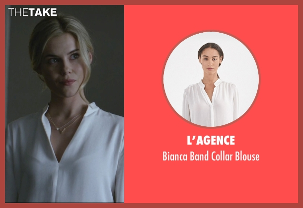 L'agence white blouse from Jessica Jones seen with Trish Walker (Rachael Taylor)