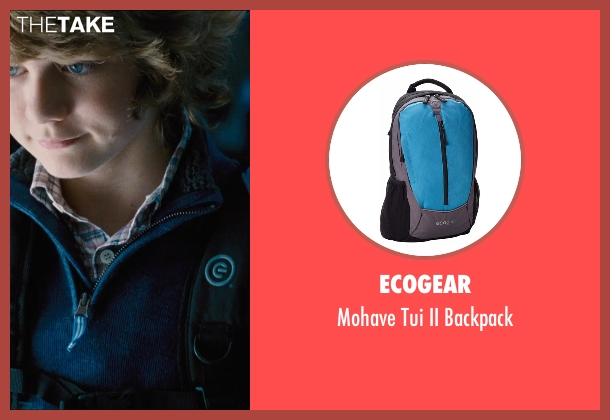 Ecogear blue backpack from Jurassic World seen with Ty Simpkins (Gray)