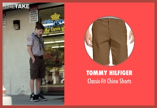 Tommy Hilfiger brown shorts from Scout's Guide to the Zombie Apocalypse seen with Tye Sheridan (Ben)