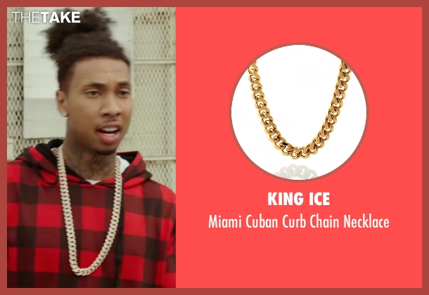 King Ice gold necklace from Barbershop: The Next Cut seen with Tyga (Yummy)