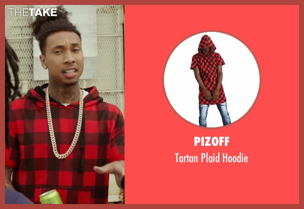 Pizoff red hoodie from Barbershop: The Next Cut seen with Tyga (Yummy)
