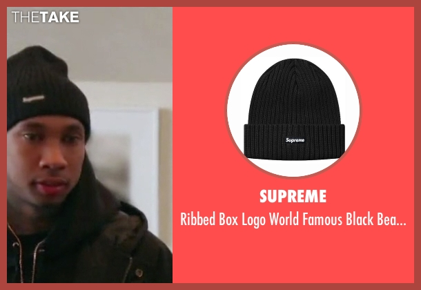 Supreme black beanie from Keeping Up With The Kardashians seen with Tyga
