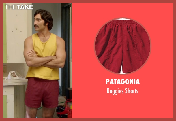 Patagonia red shorts from Everybody Wants Some seen with Tyler Hoechlin (McReynolds)