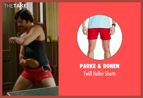 Parke & Ronen red shorts from Everybody Wants Some seen with Tyler Hoechlin (McReynolds)