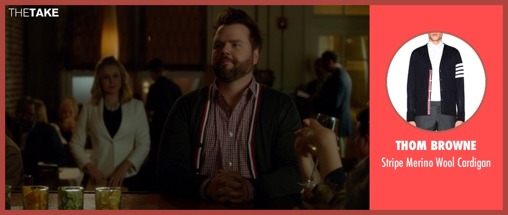Thom Browne blue cardigan from The Boss seen with Tyler Labine (Mike Beals)
