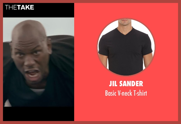 Jil Sander black t-shirt from Fast & Furious 6 seen with Tyrese Gibson (Roman Pearce)
