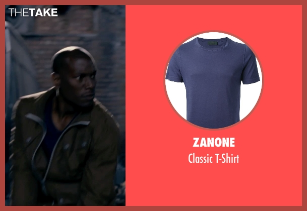 Zanone blue t-shirt from Fast & Furious 6 seen with Tyrese Gibson (Roman Pearce)