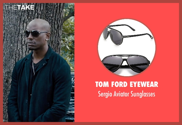 Tom Ford Eyewear black sunglasses from Furious 7 seen with Tyrese Gibson (Roman Pearce)