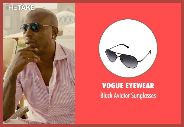 Vogue Eyewear black sunglasses from Furious 7 seen with Tyrese Gibson (Roman Pearce)