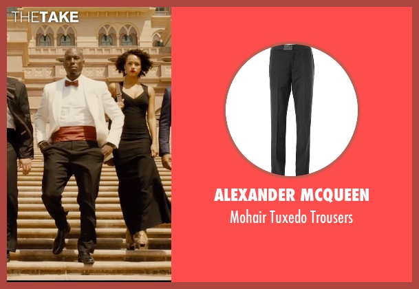 Alexander McQueen black trousers from Furious 7 seen with Tyrese Gibson (Roman Pearce)