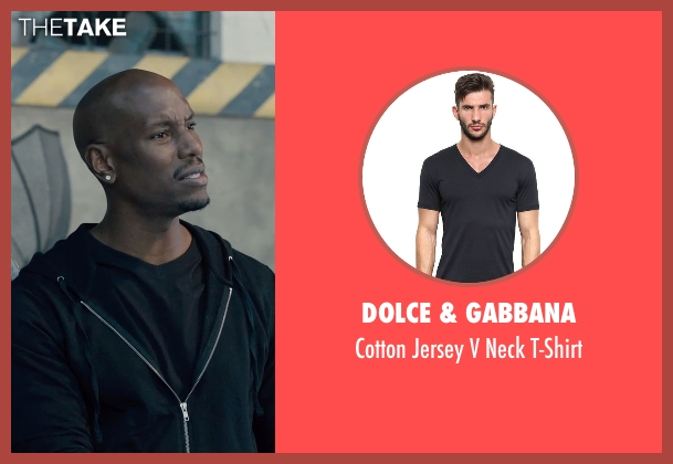 Dolce & Gabbana black t-shirt from Furious 7 seen with Tyrese Gibson (Roman Pearce)