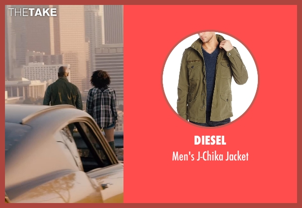 Diesel green jacket from Furious 7 seen with Tyrese Gibson (Roman Pearce)
