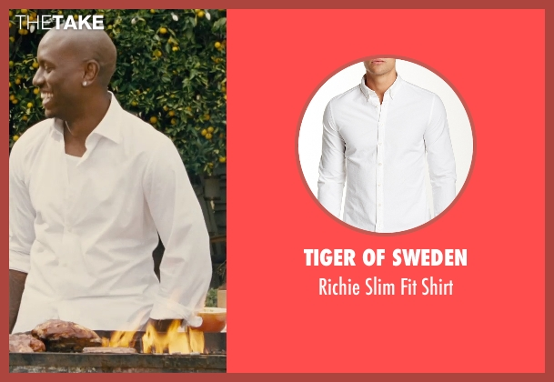 Tiger Of Sweden white shirt from Furious 7 seen with Tyrese Gibson (Roman Pearce)