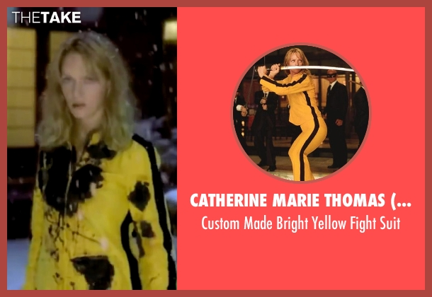 Catherine Marie Thomas (Costume Designer) suit from Kill Bill: Vol. 1 seen with Uma Thurman (The Bride)