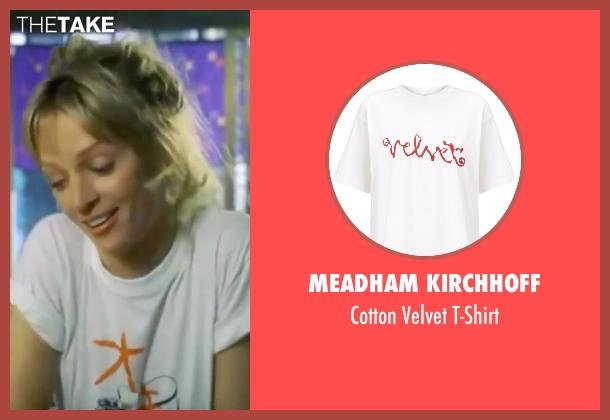Meadham Kirchhoff white t-shirt from Kill Bill: Vol. 1 seen with Uma Thurman (The Bride)