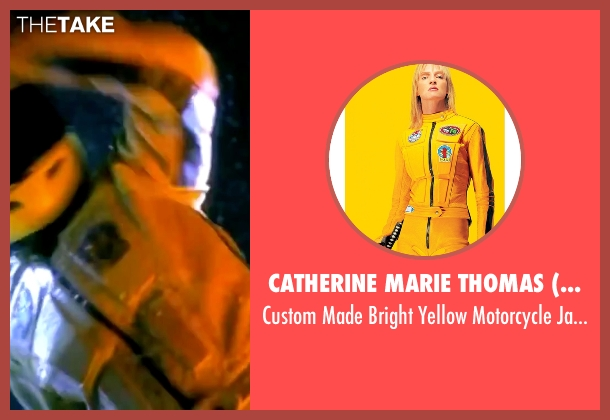 Catherine Marie Thomas (Costume Designer) yellow jacket from Kill Bill: Vol. 1 seen with Uma Thurman (The Bride)