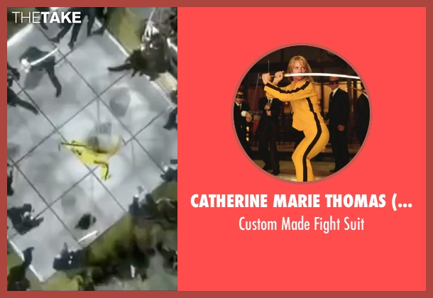Catherine Marie Thomas (Costume Designer) suit from Kill Bill: Vol. 2 seen with Uma Thurman (Beatrix Kiddo)