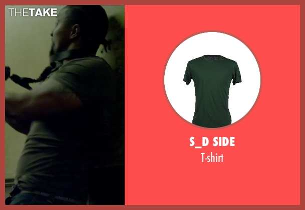 S_D SIDE green t-shirt from Brick Mansions seen with Unknown Actor (Unknown Character)