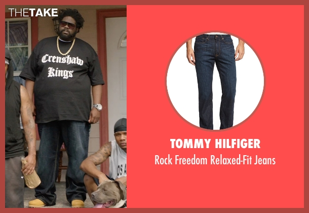 Tommy Hilfiger blue jeans from Get Hard seen with Unknown Actor (Unknown Character)