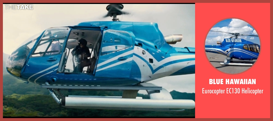 Blue Hawaiian helicopter from Jurassic World seen with Unknown Actor (Unknown Character)