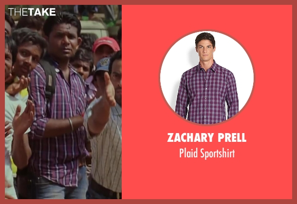 Zachary Prell purple sportshirt from Million Dollar Arm seen with Unknown Actor (Unknown Character)