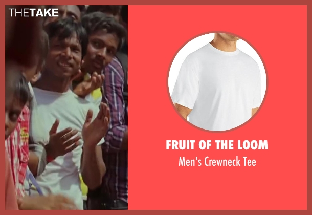 Fruit of the Loom white tee from Million Dollar Arm seen with Unknown Actor (Unknown Character)