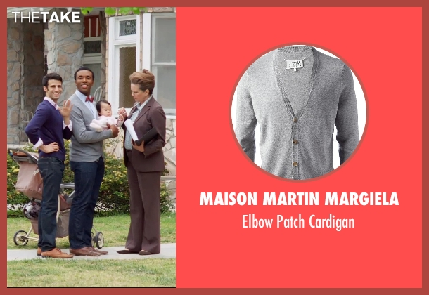 MAISON MARTIN MARGIELA gray cardigan from Neighbors seen with Unknown Actor (Unknown Character)