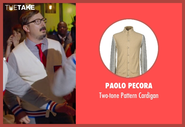 Paolo Pecora beige cardigan from Pitch Perfect 2 seen with Unknown Actor (The Tonehangers)