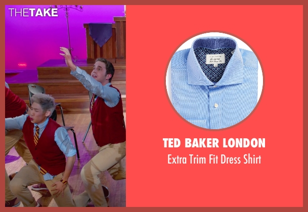 Ted Baker London blue shirt from Pitch Perfect 2 seen with Unknown Actor (Unknown Character)