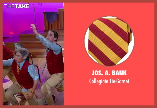 Jos. A. Bank gold tie-garnet from Pitch Perfect 2 seen with Unknown Actor (Unknown Character)