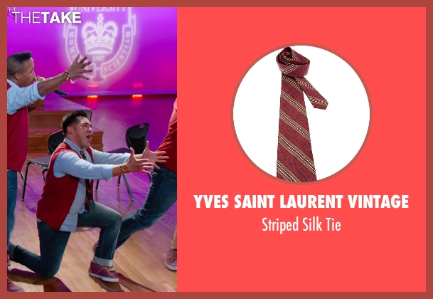 Yves Saint Laurent Vintage red tie from Pitch Perfect 2 seen with Unknown Actor (Unknown Character)