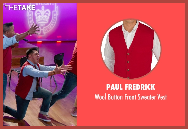 Paul Fredrick red vest from Pitch Perfect 2 seen with Unknown Actor (Unknown Character)
