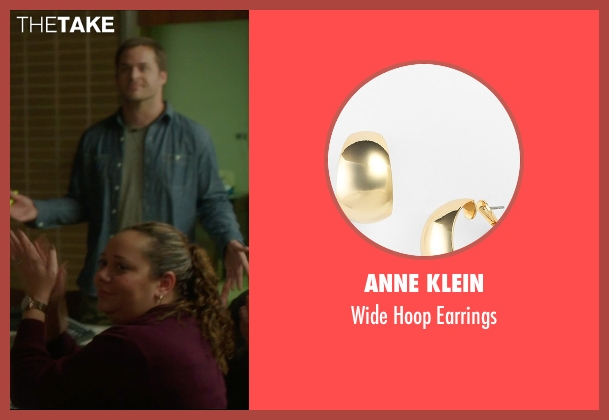 Anne Klein gold earrings from The D Train seen with Unknown Actor (Unknown Character)