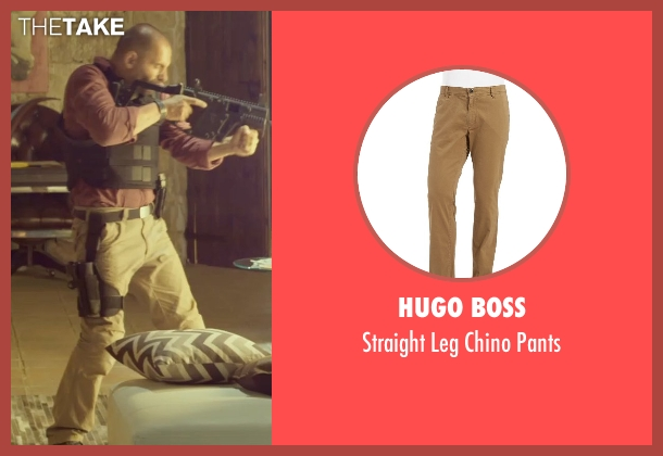 Hugo Boss beige pants from The Gunman seen with Unknown Actor (Unknown Character)