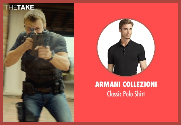 Armani Collezioni black shirt from The Gunman seen with Unknown Actor (Unknown Character)