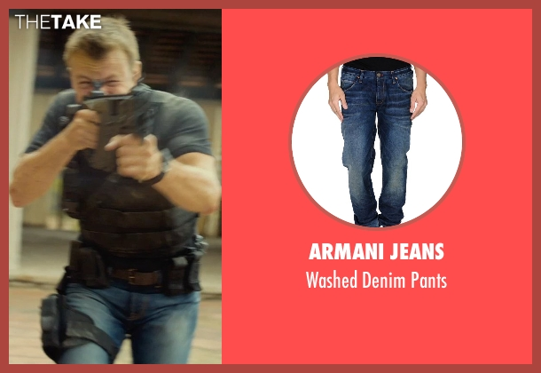 Armani Jeans blue pants from The Gunman seen with Unknown Actor (Unknown Character)