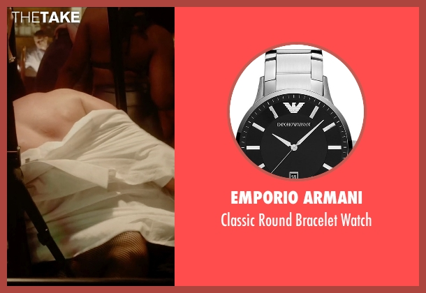Emporio Armani silver watch from Vice seen with Unknown Actor (Unknown Character)