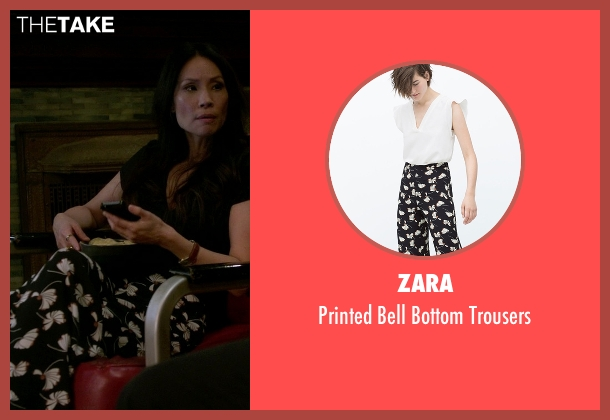 Zara black trousers from Elementary seen with Unknown Character (Lucy Liu)