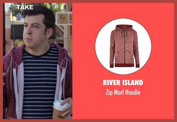 River Island red hoodie from Flaked seen with Unknown Character (Christopher Mintz-Plasse)