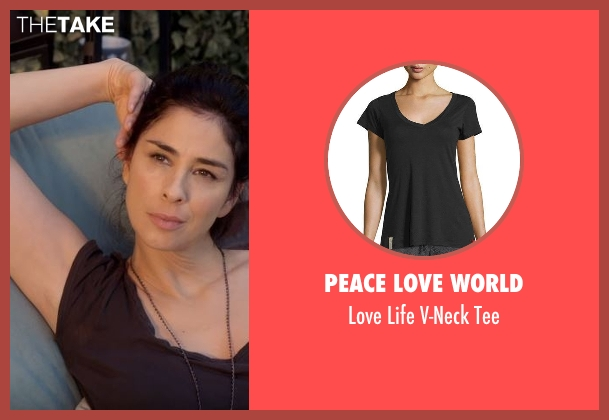 Peace Love World black tee from Lady Dynamite seen with Unknown Character (Sarah Silverman)